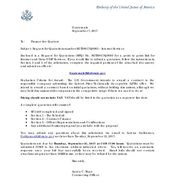 Invitation Letter  US Embassy In Guatemala