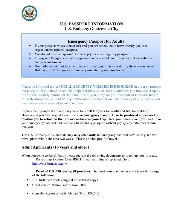 Emergency Passport For Adults Us Embassy In Guatemala