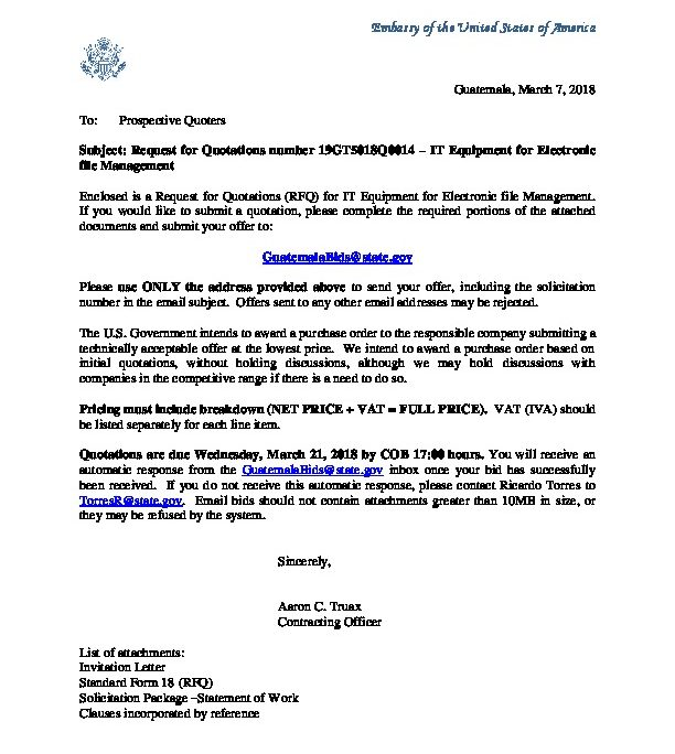 Invitation Letter GtQ  US Embassy In Guatemala